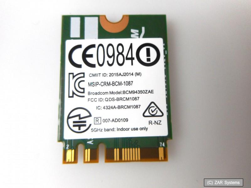 Details zu Lenovo 00JT494 Broadcom BCM94350ZAE W1820A, 802 11 Bluetooth 4 0  WIFI WLAN Karte